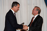 """King Felipe VI of Spain and journalist Felix Arzua attend the delivery of the XXXII edition of the journalism award """" Francisco Cerecedo """" D. Felix Arzua at Ritz Hotel in Madrid, November 25, 2015<br /> (ALTERPHOTOS/BorjaB.Hojas)"""