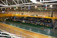 Pictured: Counters are going through ballots during the Newport West by-election ballot count at the Geraint Thomas National Velodrome of Wales in Newport, South Wales, UK. <br /> Thursday 04 April 2019<br /> Re: Voters in Newport West are going to the polls to elect a new member of Parliament.<br /> The seat in south east Wales became vacant following the death of Paul Flynn earlier in February.