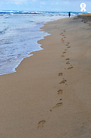 Woman and footprints on beach (Licence this image exclusively with Getty: http://www.gettyimages.com/detail/92907713 )