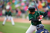 Great Lakes Loons first baseman Luis Paz (41) at bat during a game against the Burlington Bees on May 4, 2017 at Dow Diamond in Midland, Michigan.  Great Lakes defeated Burlington 2-1.  (Mike Janes/Four Seam Images)