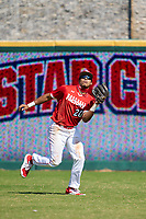 Outfielder Lonnie White Jr. (20) catches a fly ball during the Baseball Factory All-Star Classic at Dr. Pepper Ballpark on October 4, 2020 in Frisco, Texas.  Lonnie White Jr. (20), a resident of Coatesville, Pennsylvania, attends Malvern Preparatory School.  (Ken Murphy/Four Seam Images)