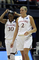BERKELEY, CA - MARCH 30: Jayne Appel and Nneka Ogwumike re-enter the game during Stanford's 74-53 win against the Iowa State Cyclones on March 30, 2009 at Haas Pavilion in Berkeley, California.