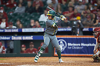 Esteban Cardoza-Oquendo (52) of the Baylor Bears at bat against the Arkansas Razorbacks in game nine of the 2020 Shriners Hospitals for Children College Classic at Minute Maid Park on March 1, 2020 in Houston, Texas. The Bears defeated the Razorbacks 3-2. (Brian Westerholt/Four Seam Images)