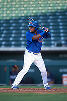 AZL Cubs 1 Ervis Marchan (21) at bat during an Arizona League game against the AZL Padres 1 on July 5, 2019 at Sloan Park in Mesa, Arizona. The AZL Cubs 1 defeated the AZL Padres 1 9-3. (Zachary Lucy/Four Seam Images)