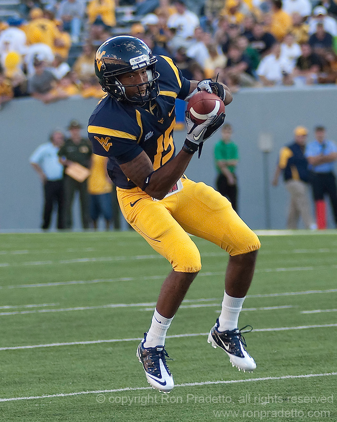 September 4, 2010: WVU wide receiver Coley White. The West Virginia Mountaineers defeated the Coastal Carolina Chanticleers 31-0 on September 4, 2010 at Mountaineer Field, Morgantown, West Virginia.