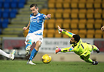 St Johnstone v Rangers…28.12.16     McDiarmid Park    SPFL<br />Steven MacLean rounds Wes Foderingham to score for saints<br />Picture by Graeme Hart.<br />Copyright Perthshire Picture Agency<br />Tel: 01738 623350  Mobile: 07990 594431