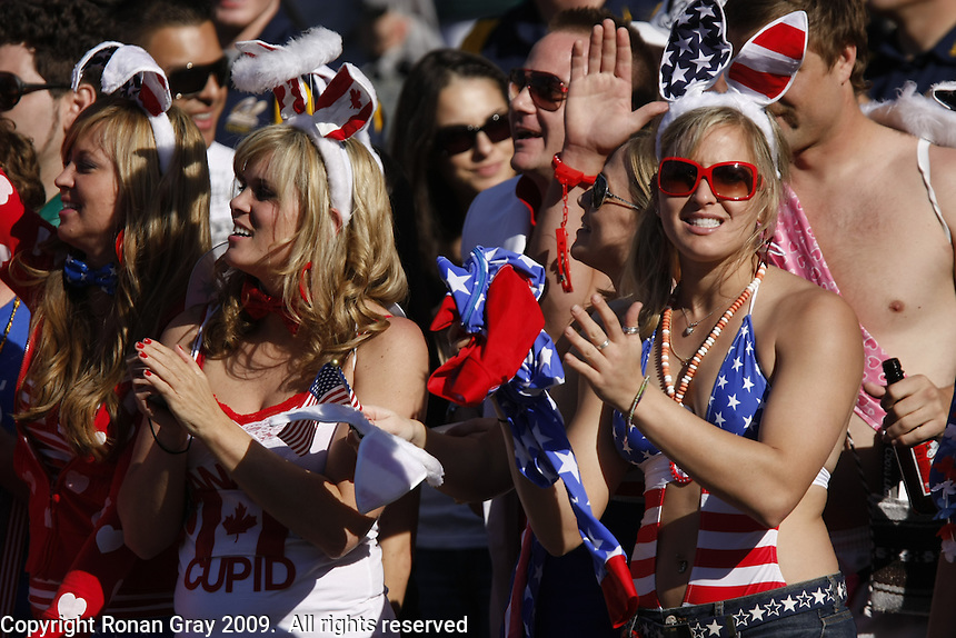February 14 2009, San Diego, CA, USA:  The IRB USA Sevens Tournament at Petco Park in Downtown San Diego.  Fans get into the spirit of the tournment during day one action.