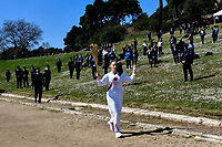 12th March 2020, Olympia, Greece;  The 2016 Olympic shooting gold medallist Anna Korakaki, the first torchbearer, runs with the torch after the flame lighting ceremony for Tokyo 2020 Olympic Games