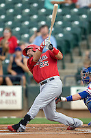 Memphis Redbirds first baseman Nick Stavinoha #25 swings during a game against the Round Rock Express at the Dell Diamond on July 7, 2011in Round Rock, Texas.  Round Rock defeated Memphis 6-4.  (Andrew Woolley / Four Seam Images)