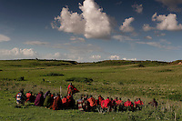 Elders have a meeting in a field next to the school they built for their children.  They are trying to figure out how to get the money to finish the rest of the classrooms.  The Maasai were kicked out of Serengeti National Park.  Then they were kicked out of the crater which is now Tanzania's main tourist attraction. Now they feel like they are squatters on their land and might be kicked out of the NCA at any time. This family cannot cultivate much, can't buy a tractor, can't fence their land etc... etc... because they are in a multi-use area of the NCA.  So this family survives mostly on milk.  In 2001 the prime minister declared it illegal to cultivate in the NCA, but that didn't work.  But it is still illegal to use a tractor or hire someone to help in the garden or to use a plow.  The government is a kleptocracy as well as being afraid of putting in infrastructure that would lead to permanent settlements that would stop the migration..The NCA is a multi-use area and there are many people looking after conservation, but very few involved with social services.  The Maasai are caught in the middle.  Rules are incredibly strict in terms of cultivation, firewood and other basics of a pastoral existence.  There are six main communities in the NCA and only two have wells.  The Maasai in this area generally share their water supply with their animals and survive mostly on milk and porridge. ..The migration is like the wild west before they killed all the buffalo.  1.5 million wildebeest are like a train with 200 cars and each car dumps 20 tons of dung a day.  Fertilizer for the entire ecosystem.  Just the saliva from their mouths is enough to keep the grass hydrated...Contact info:.Peter Jones  347 968 6978 USA Mobile.255 744 293 387 TZ Mobile.His email: jones@habari.co.tz  or Ndarakwai@aol.com.http://www.tanzania-safari.com.www.ndarakwai.com.Phone: (255) 27 2502713 .Fax: (255) 27 2508547 .eFax Number: (1) 646 349 3793 .Mobile Phone: +255 744 333550 .Mail:.Tanganyika Fi