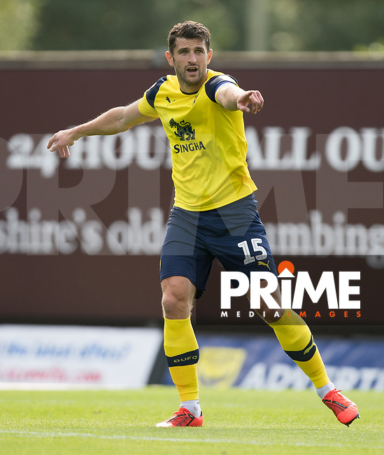 John Mousinho of Oxford United makes his 500th appearance during the Sky Bet League 1 match between Oxford United and Peterborough at the Kassam Stadium, Oxford, England on 10 August 2019. Photo by Andy Rowland.
