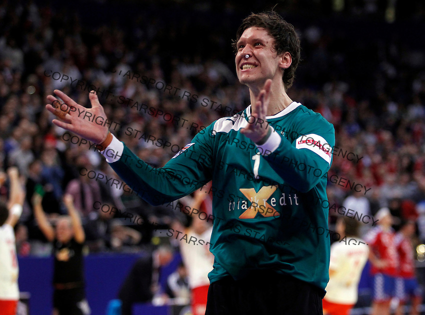 Niklas Landin Jacobsen celebrate victory in final men`s EHF EURO 2012 handball championship game against Serbia in Belgrade, Serbia, Sunday, January 29, 2011.  (photo: Pedja Milosavljevic / thepedja@gmail.com / +381641260959)