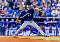 25 March 2019: Milwaukee Brewers pitcher Brandon Woodruff on the mound during an exhibition game against the Toronto Blue Jays at Olympic Stadium in Montreal, Quebec, Canada. The Brewers defeated the Blue Jays 10-5 in the first of two MLB pre-season games in the former home of the Montreal Expos. Mandatory Credit: Ed Wolfstein Photo *** RAW (NEF) Image File Available ***