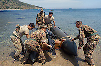 - training of S.Marco battalion navy infantrymen at Cape Teulada military polygon in Sardinia....- addestramento dei fanti di marina del battaglione S.Marco nel poligono militare di capo Teulada in Sardegna