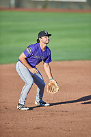 Coco Montes (19) of the Grand Junction Rockies on defense during a game against the Ogden Raptors at Lindquist Field on September 7, 2018 in Ogden, Utah. The Rockies defeated the Raptors 8-5. (Stephen Smith/Four Seam Images)