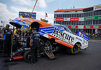 Apr 22, 2017; Baytown, TX, USA; Crew members for NHRA funny car driver Jim Campbell during qualifying for the Springnationals at Royal Purple Raceway. Mandatory Credit: Mark J. Rebilas-USA TODAY Sports
