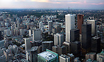 Panoramic view of the city of Toronto downtown at dusk, Ontario, Canada 2009.