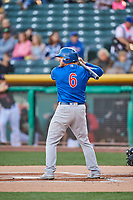 Mark Zagunis (6) of the Iowa Cubs at bat against the Salt Lake Bees in Pacific Coast League action at Smith's Ballpark on May 13, 2017 in Salt Lake City, Utah. Salt Lake defeated Iowa  5-4. (Stephen Smith/Four Seam Images)