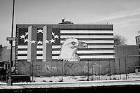 USA. Manhattan. 20th January 2009.9/11 wall mural, Brooklyn..©Andrew Testa