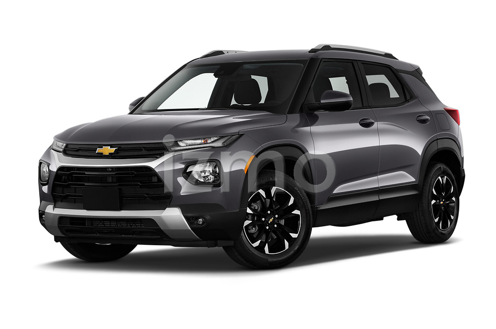 Low aggressive front three quarter view of a 2021 Chevrolet Trailblazer LT 5 Door SUV