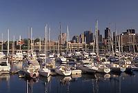 AJ4438, Boston, marina, skyline, Massachusetts, The Marina and Yacht Club on Boston Harbor in Boston in the state of Massachusetts. The skyline of Boston is in the distance.