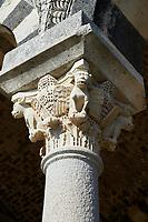Picture and image of the Tuscan Romanesque Pisan style basilica of Santissima Trinita di Saccargia, historicated pillar capitals, consecrated 1116, Codrongianos, Sardinia.