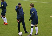 Rehanne Skinner head coach of Tottenham Hotspur speaks with Kerys Harrop of Tottenham Hotspur during Tottenham Hotspur Women vs Aston Villa Women, Barclays FA Women's Super League Football at the Hive Stadium on 13th December 2020