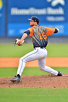 """Asheville Tourists pitcher Michael Horrell (26) delivers a pitch during a game against the Aberdeen IronBirds on June 20, 2021 at McCormick Field in Asheville, NC. Tourists players were wearing jerseys for the """"Yacumamas de Asheville"""", as part of Minor League Baseball's """"Copa de la Diversion"""". (Tony Farlow/Four Seam Images)"""