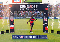 EAST HARTFORD, CT - JULY 5: Crystal Dunn #2 of the USWNT waves to the crowd during a game between Mexico and USWNT at Rentschler Field on July 5, 2021 in East Hartford, Connecticut.