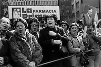 La dictadura de Augusto Pinochet y sus partidarios celebran el golpe militar y los 12 anos del gobierno militar.<br /> Santiago Chile 11 Septiembre 1985<br /> Forty years ago, on September 11, 1973, a military coup led by General Augusto Pinochet toppled the democratic socialist government of Chile. President Salvador Allende was killed during the  attack to seize  La Moneda presidential palace.  In the aftermath of the coup, a quarter of a million people were detained for their political beliefs, 3000 were killed or disappeared and many thousands were tortured.<br /> Some years later in 1981, while Pinochet ruled Chile with iron fist, a young photographer called Juan Carlos Caceres started to freelance in the streets of Santiago and the poblaciones or poor outskirts, showing the growing resistance against the dictatorship. For the next 10 years Caceres photographed every single protest and social movement fighting for the restoration of democracy. He knew that his camera was his only weapon, he knew that his fate was to register the daily violence and leave his images for the History.<br /> In this days Caceres is working to rescue and organize his collection of images in the project Imagenes de la Resistencia   . With support of some Chilean official institutions, thousands of negatives are digitalized and organized to set up the more complete visual heritage of this  violent period of Chile´s history.<br /> In a time when technology was not very friendly and communications were kind of basic, Juan Carlos Caceres and other photojournalist were always at the right place in the right moment defying the threats of the police. Their work is now  a visual heritage that documents and remind us the fight of Chilean people for democracy.
