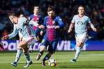 Lionel Messi of FC Barcelona (C) in action during the La Liga 2017-18 match between FC Barcelona and RC Celta de Vigo at Camp Nou Stadium on 02 December 2017 in Barcelona, Spain. Photo by Vicens Gimenez / Power Sport Images