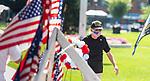 WATERBURY, CT 072421JS01 Korean War Veteran Pat Musco prepares to lay the Korean War Veterans Wreath  during the Waterbury Veterans Memorial Committee's Korean War Veterans Remembrance Day ceremony held Saturday at the Waterbury Green. <br /> Jim Shannon Republican American