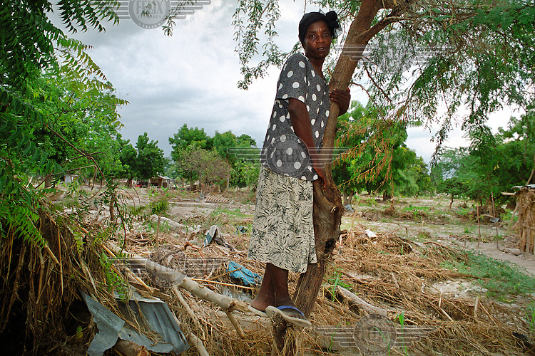 Madame Isna lost her parents and two children in the flood, and her home was totally destroyed. She saved her life by climbing this tree..Three weeks after tropical storm Jeanne hit the north west of Haiti, some districts are still flooded. Over 2700 people were reported dead or missing. Haiti is particularly vulnerable to flooding after heavy rainfall due to intense deforestation.