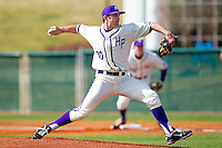 Starting pitcher Jacob Newberry #20 of the High Point Panthers in action against the Dayton Flyers at Willard Stadium on February 26, 2012 in High Point, North Carolina.    (Brian Westerholt / Four Seam Images)