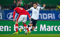 VIENNA, Austria - November 19, 2013: Alejandro Bedoya and Austria's Christian Fuchs during a 0-1 loss to host Austria during the international friendly match between Austria and the USA at Ernst-Happel-Stadium.