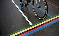 rainy rainbow startgrid<br /> <br /> Junior Men's race<br /> UCI 2016 cyclocross World Championships
