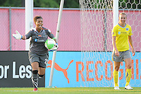 Philadelphia Independence goalkeeper Karina LeBlanc (23) shouts instructions. The Philadelphia Independence defeated Sky Blue FC 4-1 during a Women's Professional Soccer (WPS) match at Yurcak Field in Piscataway, NJ, on June 19, 2010.