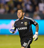 CARSON, CA - November 6, 2011: Real Salt Lake goalie Nick Rimando (18) during the match between LA Galaxy and Real Salt Lake at the Home Depot Center in Carson, California. Final score LA Galaxy 3, Real Salt Lake 1.