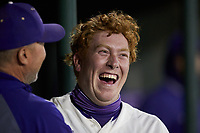 Trevor Jones (40) of the Western Carolina Catamounts is all smiles after hitting a 2-run home run during the game against the St. John's Red Storm at Childress Field on March 13, 2021 in Cullowhee, North Carolina. (Brian Westerholt/Four Seam Images)