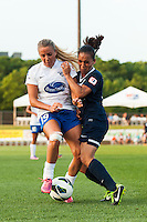 Boston Breakers forward Adriana Leon (19) and Sky Blue FC forward Monica Ocampo (8) collide. Sky Blue FC defeated the Boston Breakers 5-1 during a National Women's Soccer League (NWSL) match at Yurcak Field in Piscataway, NJ, on June 1, 2013.