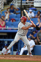 Clearwater Threshers outfielder Dylan Cozens (23) at bat during a game against the Dunedin Blue Jays on April 10, 2015 at Florida Auto Exchange Stadium in Dunedin, Florida.  Clearwater defeated Dunedin 2-0.  (Mike Janes/Four Seam Images)