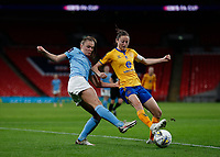 1st November 2020; Wembley Stadium, London, England; Womens FA Cup Final Football, Everton Womens versus Manchester City Womens; Danielle Turner of Everton Women challenges Georgia Stanway of Manchester City Women during extra time period