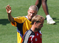 LA Galaxy players FWD David Beckham (R-23)   and GK Lance Friesz (L-35) Beckham's first practice with the LA Galaxy at the Home Depot Center in Carson, California, Monday, July 16, 2007.