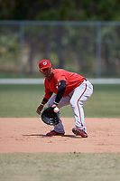 Washington Nationals Anderson Franco (11) fields a ball during practice before a minor league Spring Training game against the St. Louis Cardinals on March 27, 2017 at the Roger Dean Stadium Complex in Jupiter, Florida.  (Mike Janes/Four Seam Images)