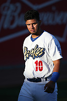 Keibert Ruiz (10) of the Rancho Cucamonga Quakes before a game against the Stockton Ports at LoanMart Field on August 15, 2017 in Rancho Cucamonga California. Rancho Cucamonga defeated Stockton, 11-9. (Larry Goren/Four Seam Images)