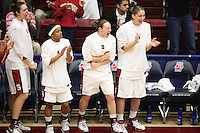 19 March 2007: Morgan Clyburn, Markisha Coleman, Clare Bodensteiner, and Michelle Harrison during Stanford's 68-61 loss against the Florida State Seminoles in the 2007 NCAA Division I Women's Basketball Championship second round game at Maples Pavilion in Stanford, CA.