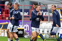25th September 2021; Kilmac Stadium, Dundee, Scotland: Scottish Premiership football, Dundee versus Rangers; Jason Cummings and Paul McGowan of Dundee have a laugh during the warm up