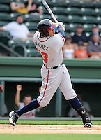 Outfielder Edison Sanchez (53) of the Rome Braves, an Atlanta Braves affiliate, in a game against the Greenville Drive on May 7, 2012, at Fluor Field at the West End in Greenville, South Carolina. Greenville won, 11-5. (Tom Priddy/Four Seam Images)