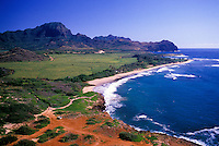 Mahaulepu coastline and Haupu Mountain, near the Hyatt Regency Kauai Resort.