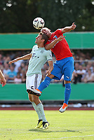 18.08.2018, Football DFB Pokal 2018/2019, 1. round, SV Drochtersen Assel - FC Bayern Muenchen, Kehdinger stadium Drochtersen.  Thomas Mueller (Bayern Muenchen)  -  and Meilkel Klee (SV Drochtersen-Assel)<br /><br /><br />***DFB rules prohibit use in MMS Services via handheld devices until two hours after a match and any usage on internet or online media simulating video foodaye during the match.*** *** Local Caption *** © pixathlon<br /> <br /> Contact: +49-40-22 63 02 60 , info@pixathlon.de